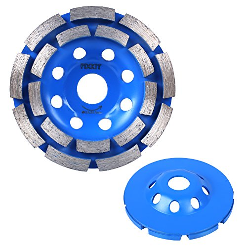 (FIXKIT 4-1/2-Inch Diamond Grinding Cup Wheel, Double-Row Segment Grinding Wheel Disc (8 Holes), Blue)