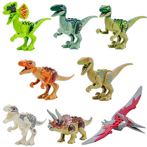 [Miwit Jurassic World Park Mini Dinosaur Models Dinosaur Minifigures Building Blocks Toys-8 pcs] (Raptor Costume Jurassic Park)