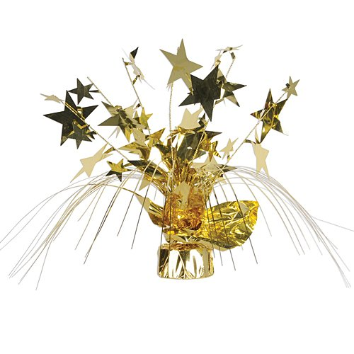 Beistle 1-Pack Star Gleam N Spray Centerpiece, 11-Inch, - Gold Centerpiece Spray
