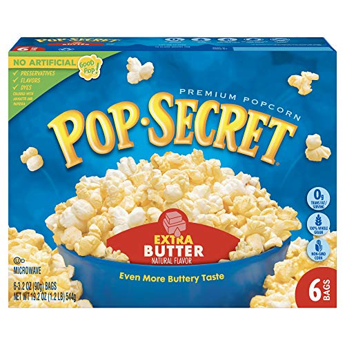 (Pop Secret Microwave Popcorn, Extra Butter, 6-Count Boxes (Pack of 6))