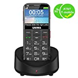 "UNIWA Unlocked Cell Phone 3G Senior Cell Phone WCDMA GSM Cell Phone Senior Citizen & Kids 2.31"" Curved Screen Embossed Keyboard Big Button Big Font SOS Emergency Simple Phone Charging Dock"