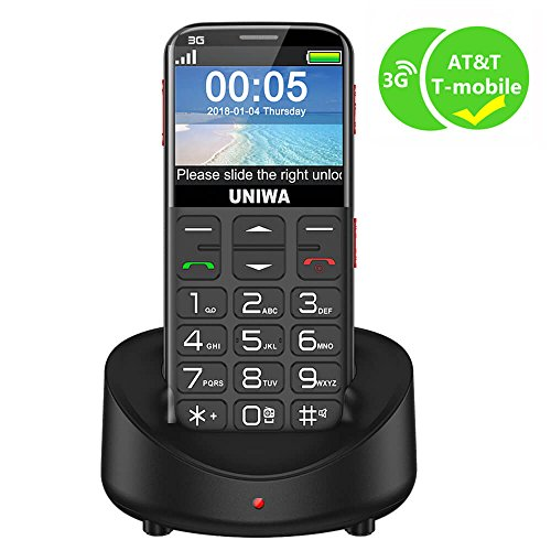 UNIWA Unlocked Cell Phone 3G Senior Cell Phone WCDMA GSM Cell Phone for Senior Citizen & Kids 2.31 Curved Screen Embossed Keyboard Big Button Big Font SOS Emergency Simple Phone with Charging Dock