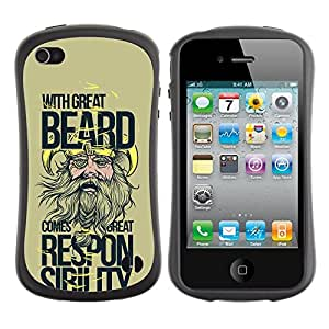 Fuerte Suave TPU GEL Caso Carcasa de Protección Funda para Apple Iphone 4 / 4S / Business Style Funny - With Great Beard Comes Great Responsibility