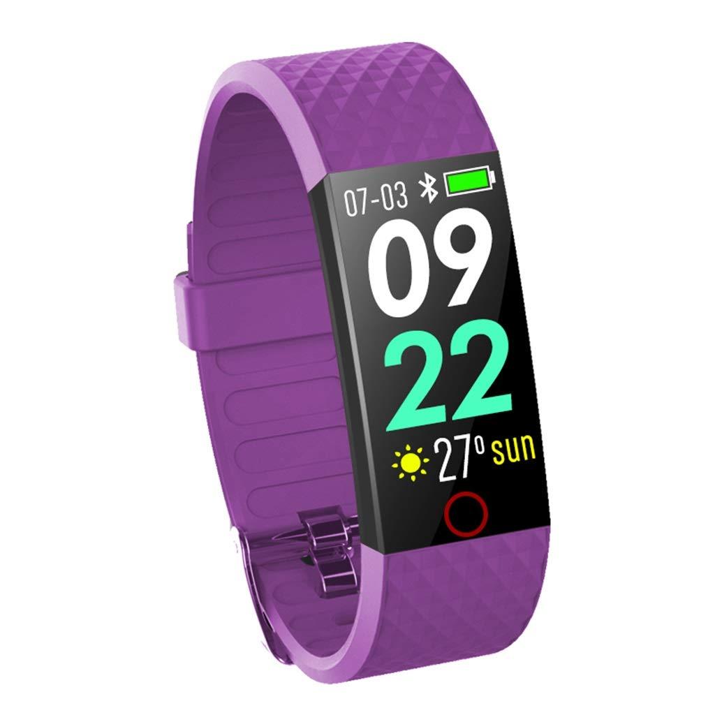 Qiyi Smart Sports Bracelet, Lead-Free Environmental Protection PCBA Smart Sports Bracelet, Heart Rate Call Reminder Healthy Sleep Waterproof Sports Bracelet (Color : Purple)