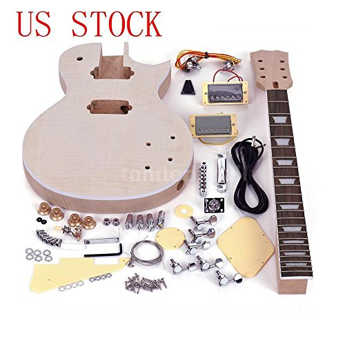 FidgetGear Complete Unfinished DIY Kit Electric Guitar Body + Fingerboard +Accessories Gift