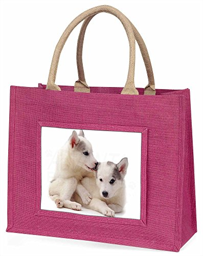 Advanta Siberian Husky Große Einkaufstasche/Weihnachtsgeschenk, Jute, pink, 42x 34,5x 2cm