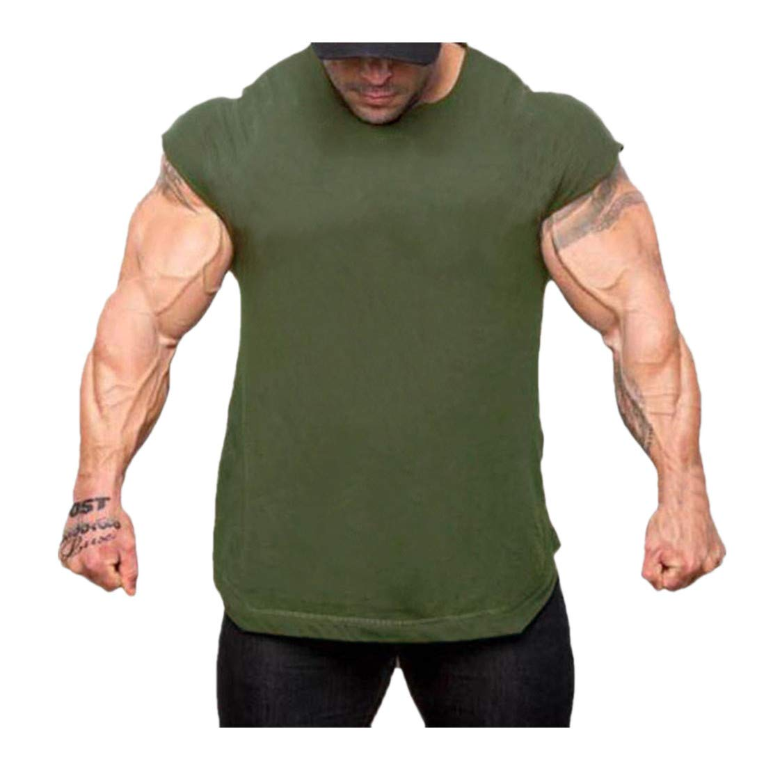 WEUIE Mens Sportswear Personality Men's Summer Autumn Short Sleeved Plaid T Shirt Top Pullover Blouse (S, Army Green)