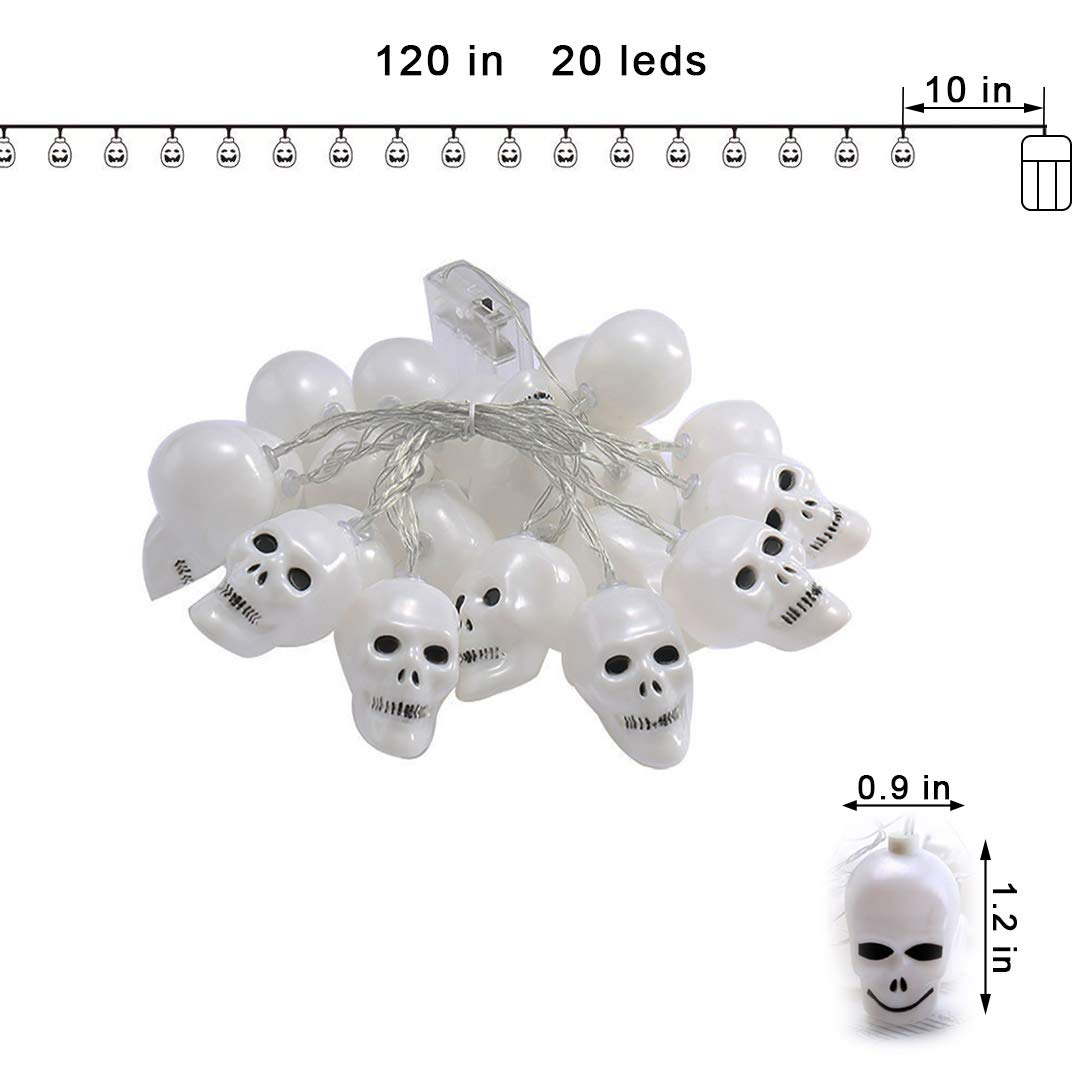 Aynone Halloween Horror Ghost LED String Light with 20 Skeleton Heads lamp for Party Holiday Festival Decor