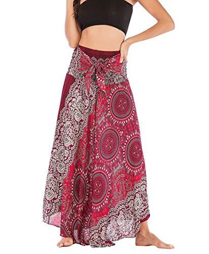 Banjamath Women's Long Bohemian Style Gypsy Boho Hippie Skirt (XL, Mandala Red 2)