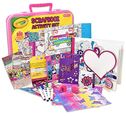 Crayola Art Activity Set, Mess Free Craft Kit for Kids, Washable Markers Coloring Supplies, Stickers, Scrapbook in Travel Carry Case (Crayola Art Set Washable)