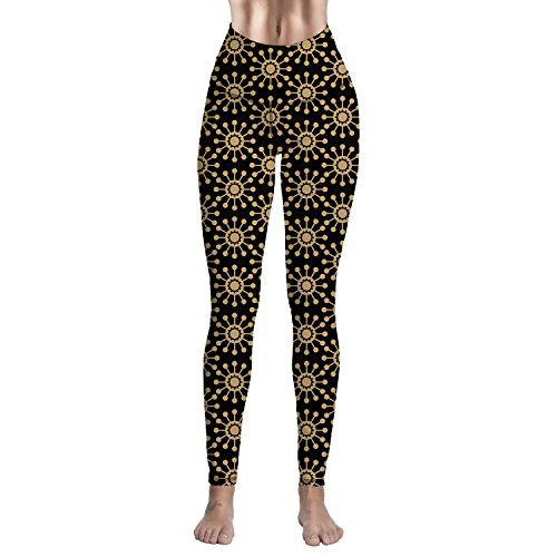 High Waist Yoga Extra Soft Running Capri Leggings Black Sun Flower