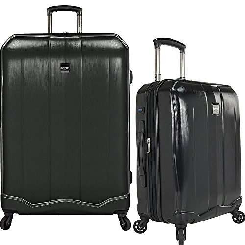 Tote Pocket Fully Two Lined (U.S Travelers Piazza 2-Piece Lightweight Expandable Luggage Set - Black (22-Inch and 30-Inch))