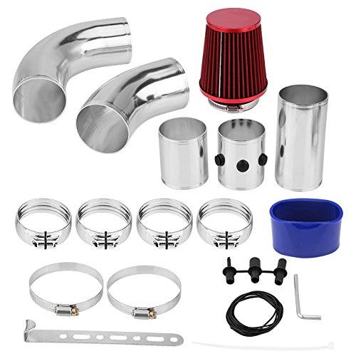 Universal Car Cold Air Intake Filter, 76mm/3inch Aluminium Cold Air Injection Intake Filter System Hose/Pipe/Tube Kit: