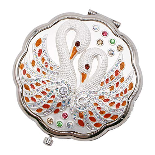 WSSROGY Vintage Silver Beautiful Swan Portable Purses Folding Compact Metal Makeup Mirror -