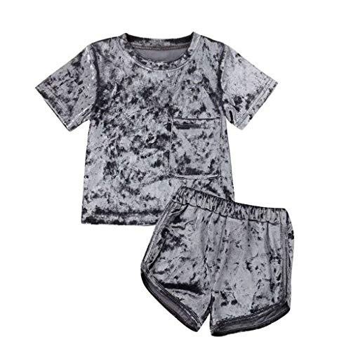 (Hstore 2 Pcs Fashion Baby Girls Boys Velvet Sweatshirt Sport Casual Clothes Outfits Set 0-4Y Gray)