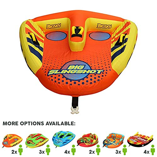 Big Sky Big Slingshot Towable Tube for 1-2 People - Roomy, Durable Boating Tubes for Lake, Beach, River, Snow - Watersports Towables - Quick Inflation and Deflation - Two Person Boat Toys and Floats