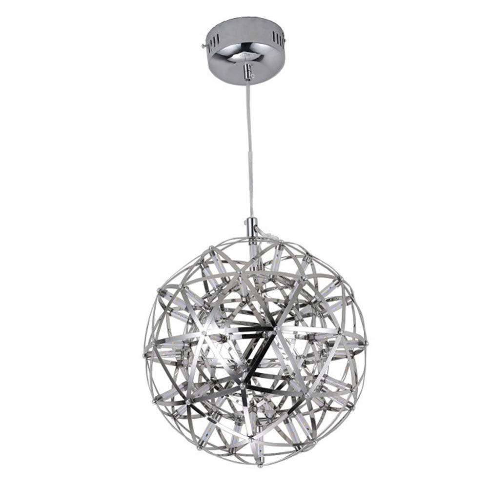 FAFY Pendelleuchten Moderne Kreative LED Metall Pendelleuchte Feuerwerk Pendelleuchten 220 V Silber Glas Deckenleuchte LED Lustre Licht Kronleuchter,Silber-A-20cm(LED12)