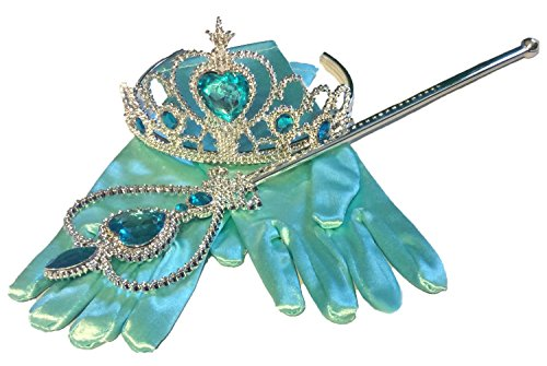 Princess Dress up Party Accessories - 3 Piece Set: Gloves, Tiara and Wand (Light Blue) (Frozen Gloves)