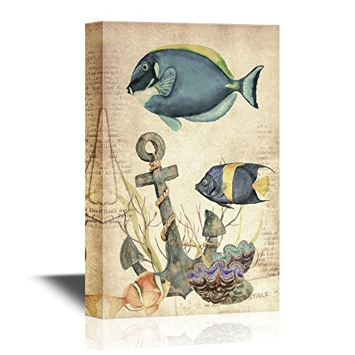 Vintage Style Tropical Fish and the Anchor