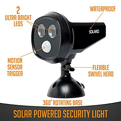 Solar Powered Security Spotlights- Motion Activated Lights- Wireless Outdoor Light- 300 Lumen Ultra Bright LEDs- 2 Lighting Modes- Best for Patio, Garden, Path, Pool, Yard, Deck (Black)