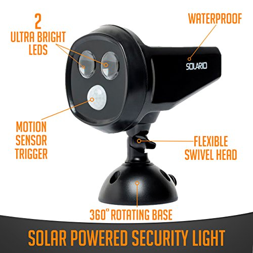 Solar Powered Security Spotlights- Motion Activated Lights- Wireless Outdoor Light- 300 Lumen Ultra Bright LEDs- 2 Lighting Modes- Best for Patio Garden Path Pool Yard Deck Black 1 Pack