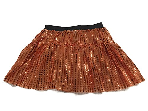 [Rush Dance Sparkle Sequin Running Skirt Race Costume Glitter Ballet Tutu 5K (S/M, Orange)] (Dark Chocolate M&m Costume)