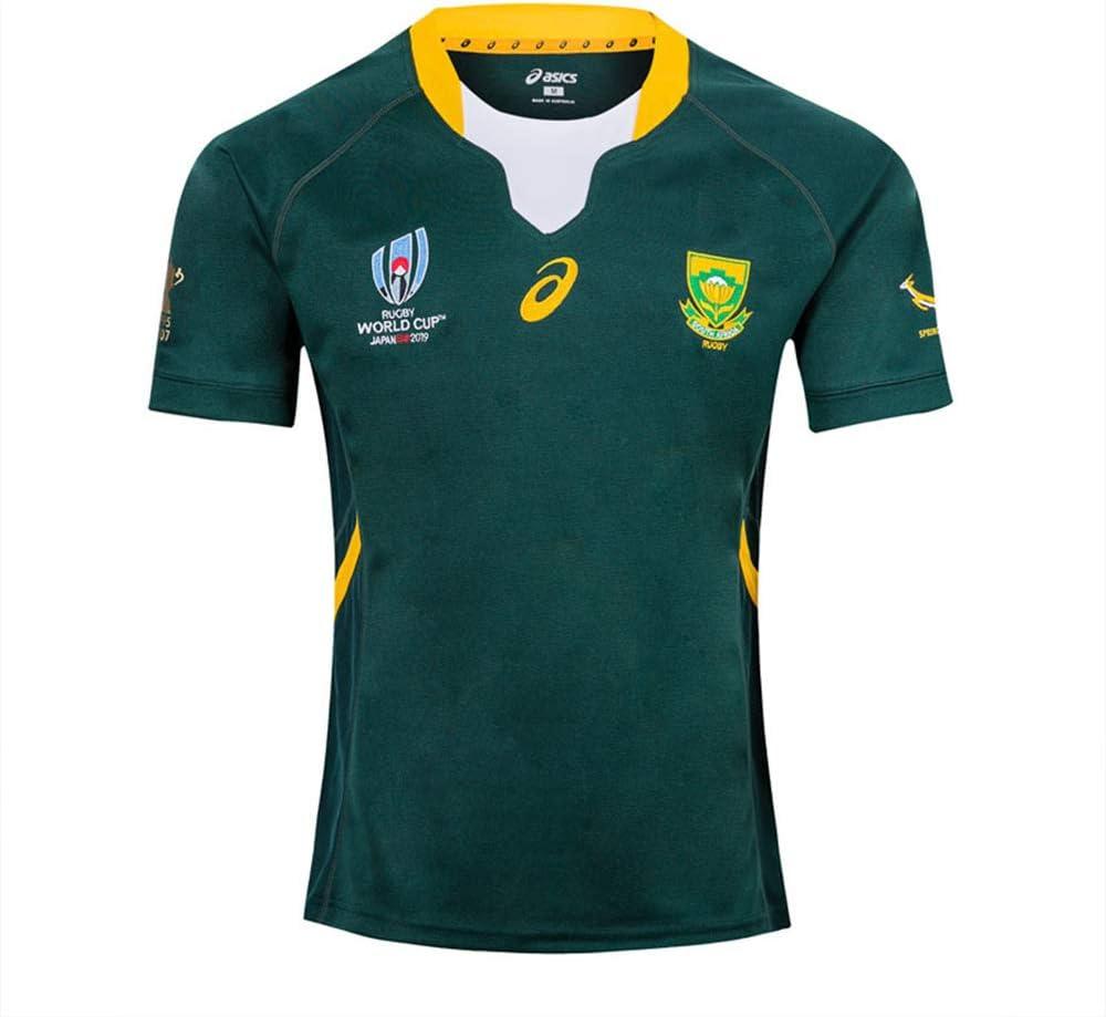 HBRE Rugby Jersey,2019 Cotton Jersey T-Shirt,Camiseta De Rugby SudáFrica,Camiseta De FúTbol Local,Manga Corta Deportiva De Secado RáPido,Ropa Deportiva De FúTbol, S-3xl