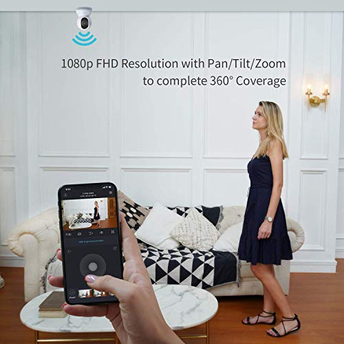 blurams Dome Security Camera 1080p Wifi PTZ IP Surveillance System with Smart Motion/Person Detection Two-Way Audio, Option Cloud &Local Storage, Compatible with Alexa, Google Assistant, IFTTT