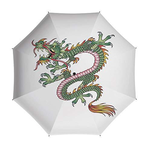 Travel Umbrella,Japanese Dragon,Auto Open Close Umbrella 42 Inch,Dangerous Fantasy Monster Year of the Dragon Theme Symbolic Artsy]()