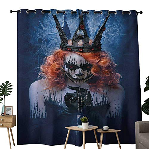 NUOMANAN Pattern Curtains Queen,Queen of Death Scary Body Art Halloween Evil Face Bizarre Make Up Zombie,Navy Blue Orange Black,Living Room and Bedroom Multicolor Printed Curtain Sets 84