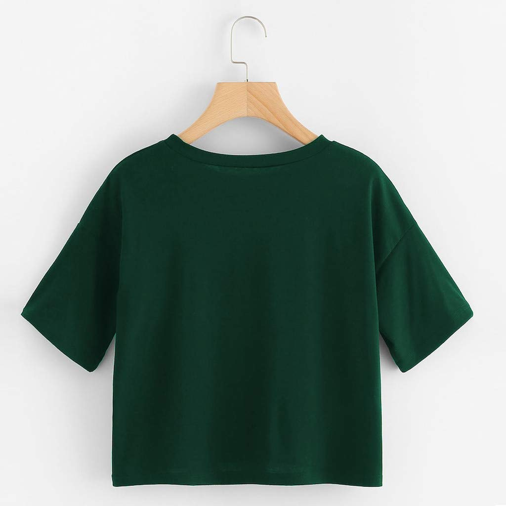 Bohelly ♚♚ 2019 Womens Short Sleeve Letter Print Round Neck Dew Belly T-Shirt Casual Top Fitness Short Sleeve