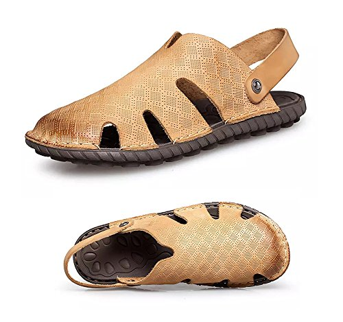 Leather Clog Sandals - Maesty Men's Summer Sandals Closed Toe Leather Clogs Outdoor Casual Fisherman Beach Walking Slippers Hollow Yellow US10.0