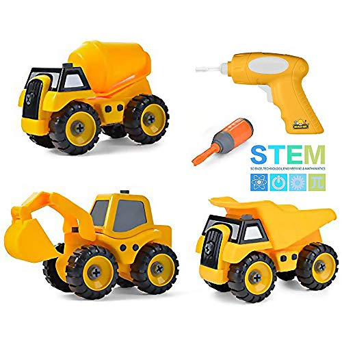 Build Me Set of 3 Take Apart Construction Truck Toys, Dump Truck, Cement Truck, Excavator with Sounds, Educational Build It Yourself Vehicles with Battery Powered Drill -