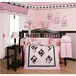 Geenny CRIB-CF-2032 Boutique Butterfly 13 Piece Crib Bedding Set in Pink / Brown