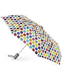 Classics 3 Section Automatic Compact Umbrella, Big Rainbow Dot, One Size
