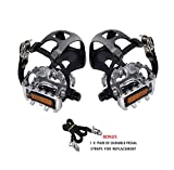 AbraFit 9/16-Inch Resin/Alloy Bicycle Pedals With Toe Clips & Straps (Pair), Comes With One Extra Pair of Straps for Replacement