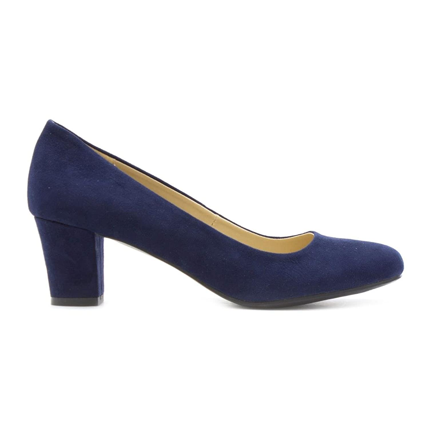 Lilley Womens Faux Suede Heeled Court Shoe in Navy: Amazon.co.uk: Shoes &  Bags