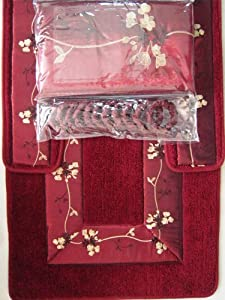 Amazon Com 4 Piece Luxury Embroidered Bath Rug Set 3