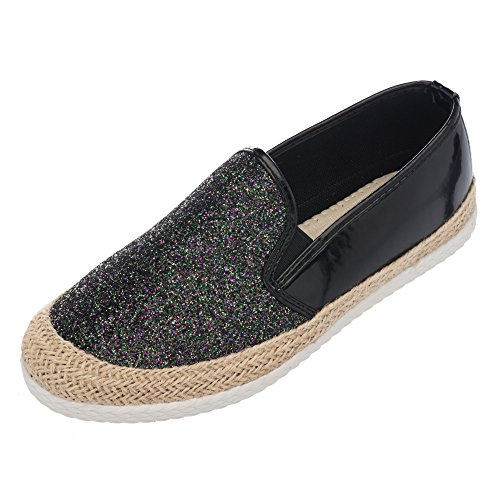 Chic Womens Fashion Slip-On Sneakers Espadrille Black [Apparel]