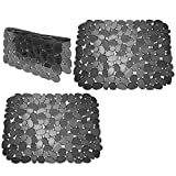 mDesign Adjustable Kitchen Sink Dish Drying Mat/Grid - Soft Plastic Sink Protector, Cushions Sinks, Dishes - Quick Draining Pebble Design - Includes 1 Saddle, 2 Large Mats - Set of 3 - Black