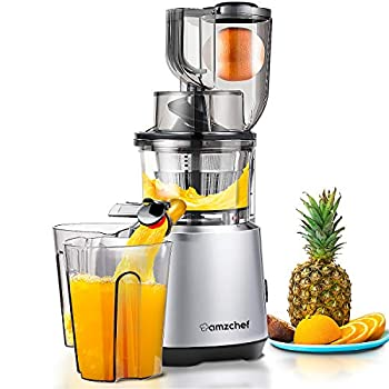 Image of AMZCHEF Slow Juicer Slow Masticating Juicer Cold Press Juicer Vegetable&Fruit Extractor Juicer Machine Vertical Reverse Function Quiet Motor Big Feed Chute|Juice Jug&Brush BPA-Free 56RPM Home and Kitchen