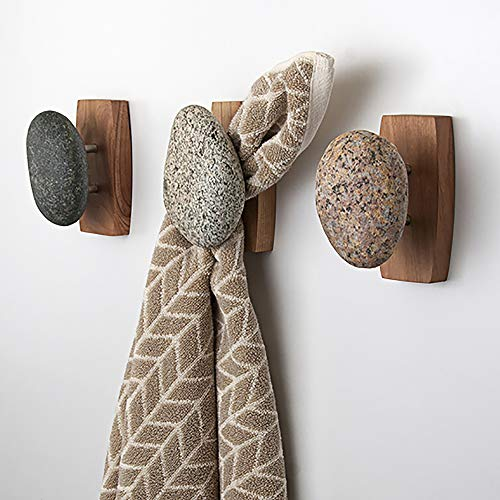 Sea Stones Coast Hook - Coat Hook - Hand Selected, Natural Stone Wall Hook with Elegant Wooden Backplate - Hang Your Coats, Towels, Robes & More with Both Indoors & Outdoor Uses (3 Pack, Cherry) ()