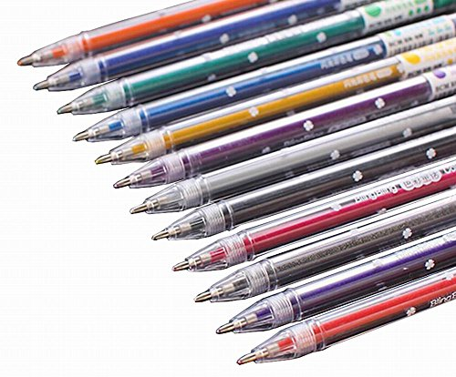 12pcs Pretty Color Gel Ink Pens Marker Pen Highlighters Shiny
