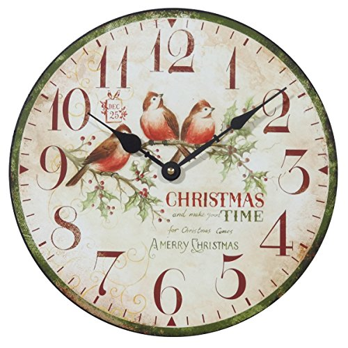 NIKKY HOME Decorative Round Christmas Wall Clock for Christmas Decor Gifts 12'' x 12'' In