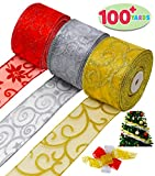 Christmas Thick Ribbon 3 Color Rolls; 100+ Yard Total 2.75 Inch Wide Swirl Wired Sheer Glitter for Holiday Xmas Gift Box Wrapping Bows, Hair Bows Making, Sewing, Baby Shower Craft and Wine Decoration.: more info
