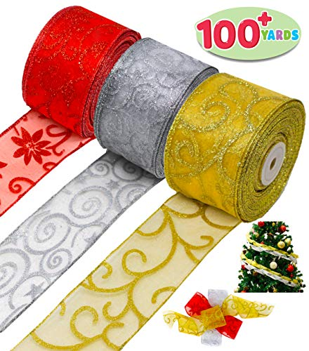 Christmas Thick Ribbon 3 Color Rolls; 100+ Yard Total 2.75 Inch Wide Swirl Wired Sheer Glitter for Holiday Xmas Gift Box Wrapping Bows, Hair Bows Making, Sewing, Baby Shower Craft and Wine Decoration.