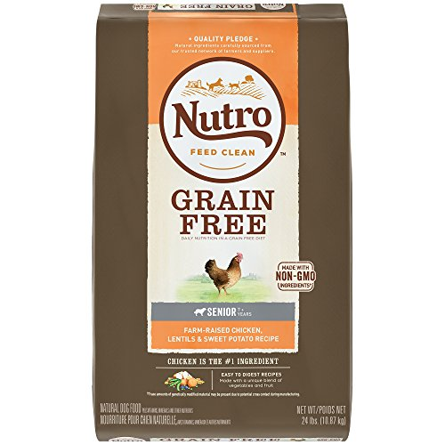 NUTRO Grain Free Senior, Farm-Raised Chicken, Lentils and Sweet Potato Recipe Dry Dog Food, (1) 24-lb, Chicken #1 Ingredient; Easy to Digest Recipe; Rich in Nutrients and Full of Flavor