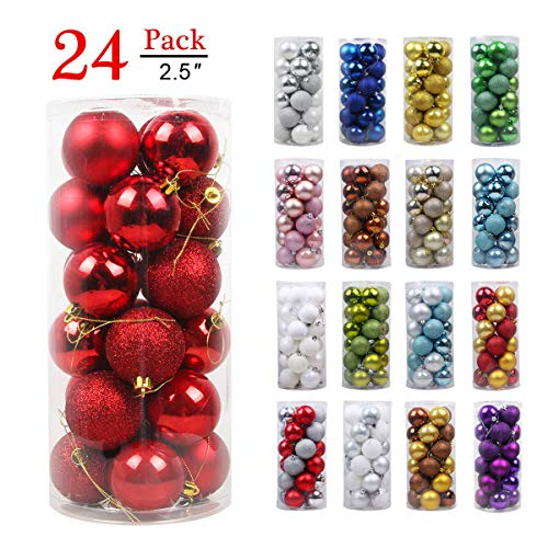 Christmas Balls Ornaments for Xmas Tree - Shatterproof Christmas Tree Decorations Large Hanging Ball Red 2.5
