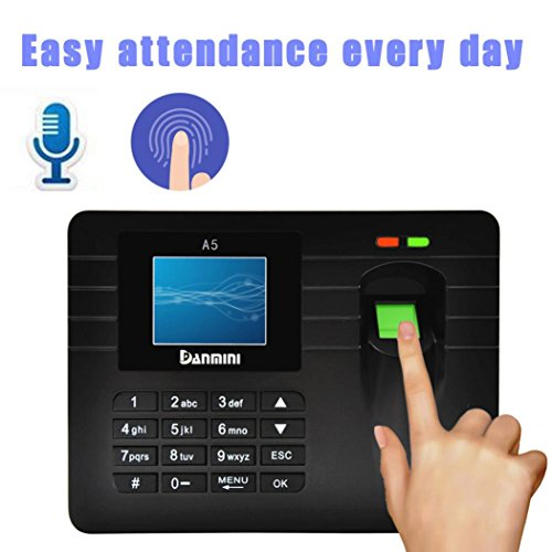 Price comparison product image Dreamyth Advanced TFT Fingerprint Time Clock Attendance Clock Employee Payroll Recorder (black)