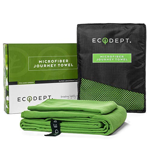 ECOdept Microfiber Travel Towel ~ Super Absorbent & Quick Dry ~ Essential Backbacking, Camping, Gym, Sports, Swimming & Beach Gear ~ Large 52